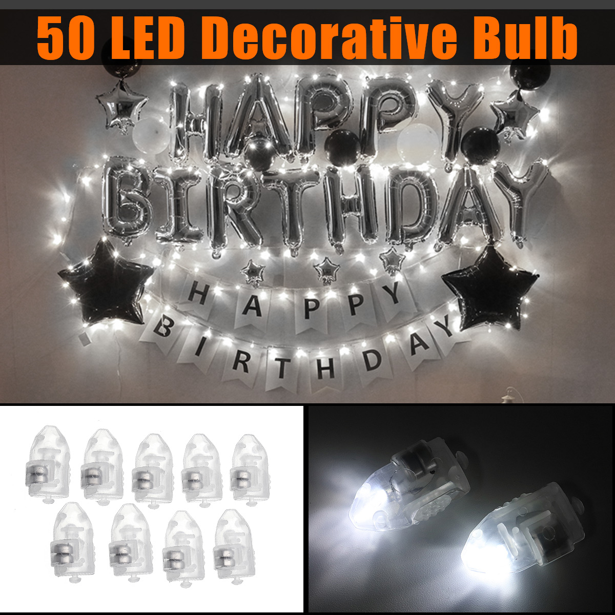 50PCS Mini White Coloful LED Ball Holiday Light for Wedding Party Birthday Festival Home Decoration