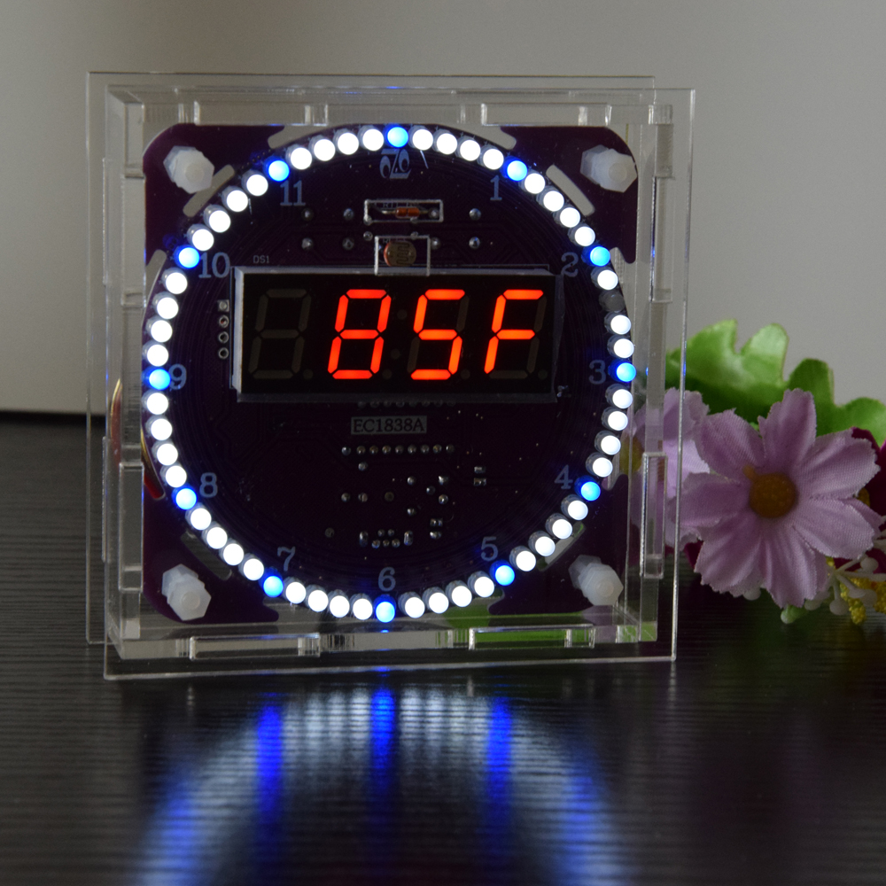 Geekcreit® Fourth Generation DIY EC1838A DS3231 Light Control Rotation LED Electronic Clock Kit Music Alarm Clock With Housing