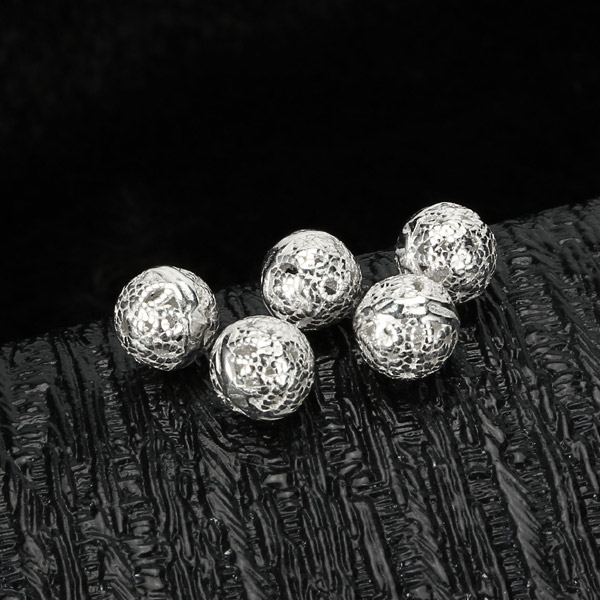 925 5pcs Sterling Silver Round Loose Beads Hollow DIY Jewelry Accessories Findings