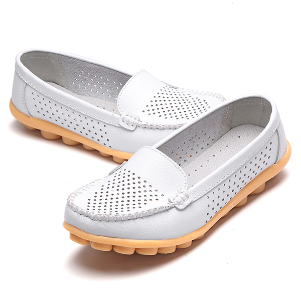 Soft Sole Hollow Out Casual Round Toe Slip On Comfy Loafers