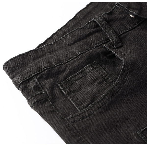 Mens Skinny Fit Zipper Jeans Fashion Elastic Black Mid-rise Denim Pants