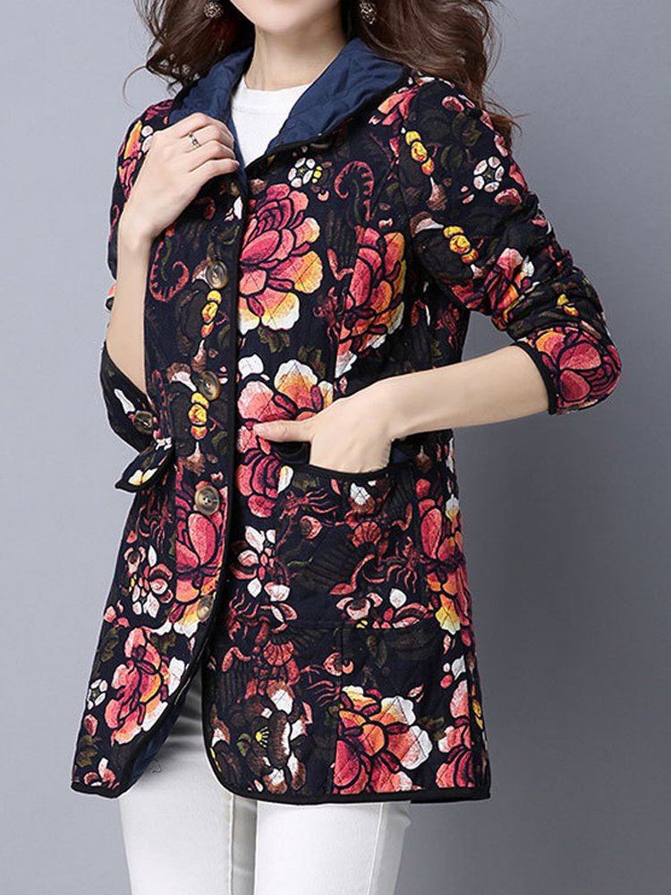 Ethnic Floral Printing Long Sleeve Thick Women Coat