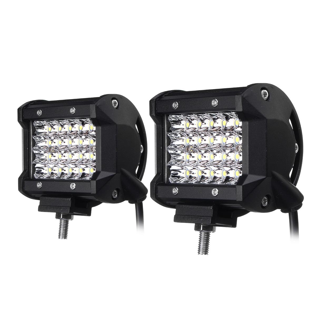 2Pcs 4Inch LED Work Light Bar Spot Beam Fog Lamp 10-30V 72W White for Offroad SUV Truck