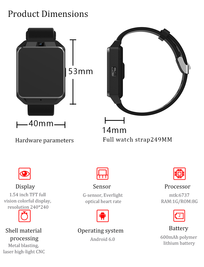 Microwear H5 4G WI-FI GPS HeartRate Monitor Camera 1G 8G Andriod6.0 SIM Card bluetooth Smartwatch