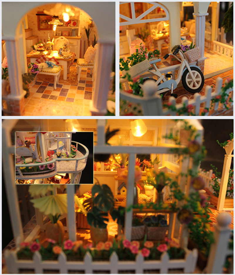 Hoomeda 13845 Be Enduring As The Universe DIY Dollhouse With Music Light Cover Miniature Model