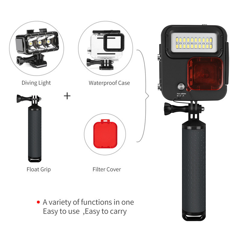 SHOOT XTGP435 Underwater 40M Kangaroo Diving Light 20 LEDs Protective Housing Case for GOPRO HERO 3+ 4 5 6 Action Camera with Fload Grip