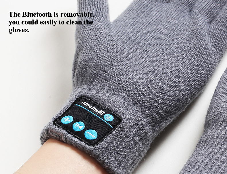 Warm USB Charging Microphone Removeable bluetooth Earphone Touch Screen Knitted Gloves