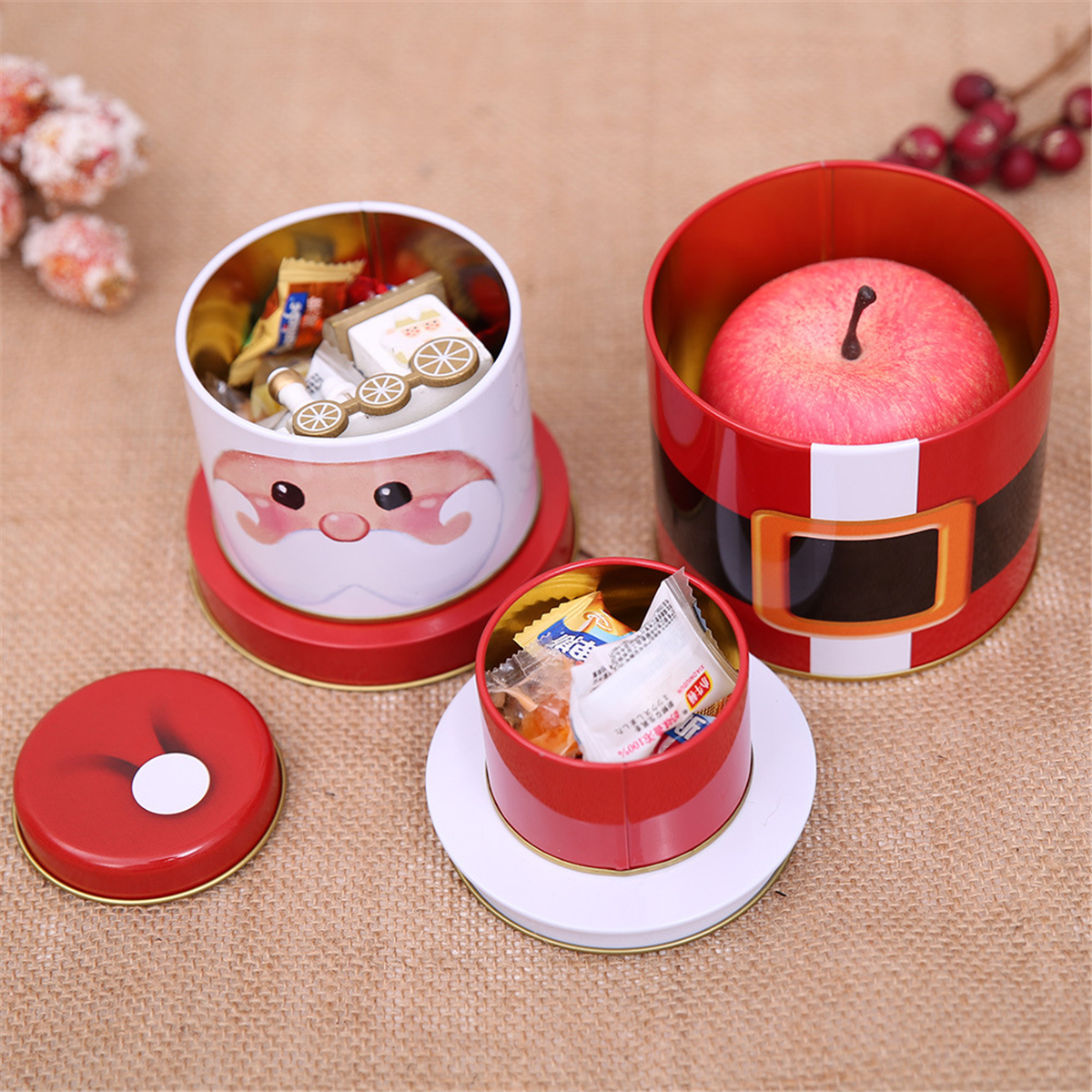 Three Layers Christmas Candy Decorations Cookie Biscuit Tin Metal Box Gift