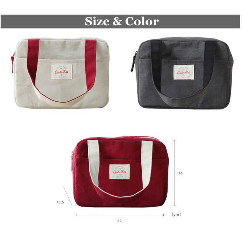 Honana CF-LB022 Insulated Cooler Lunch Tote Bag Travel Picnic Handbag Zipper Storage Containers