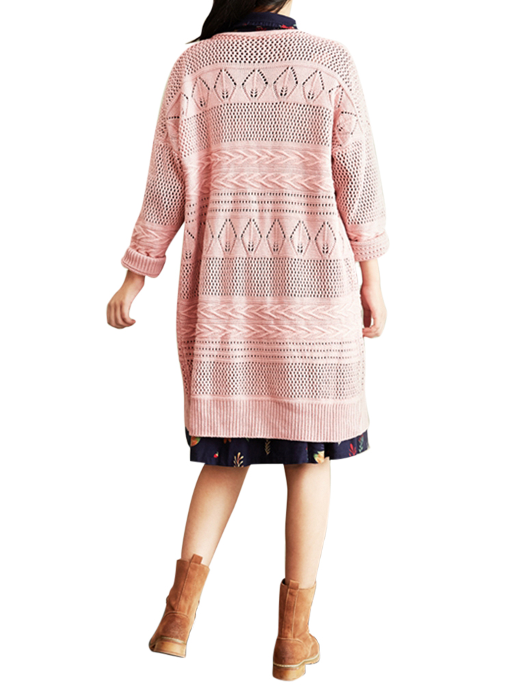Retro Loose Hollow Out Crochet V-Neck Buttons Pure Color Sweater Cardigan