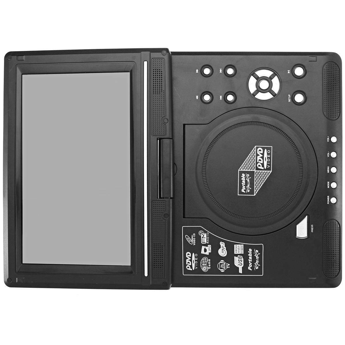 12V Portable 9.8 Inch LCD Screen TV Mobile DVD Game Player FM Radio