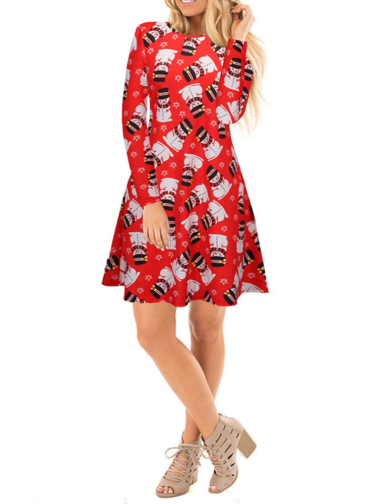 Women Long Sleeve Christmas Printed Mini Dress