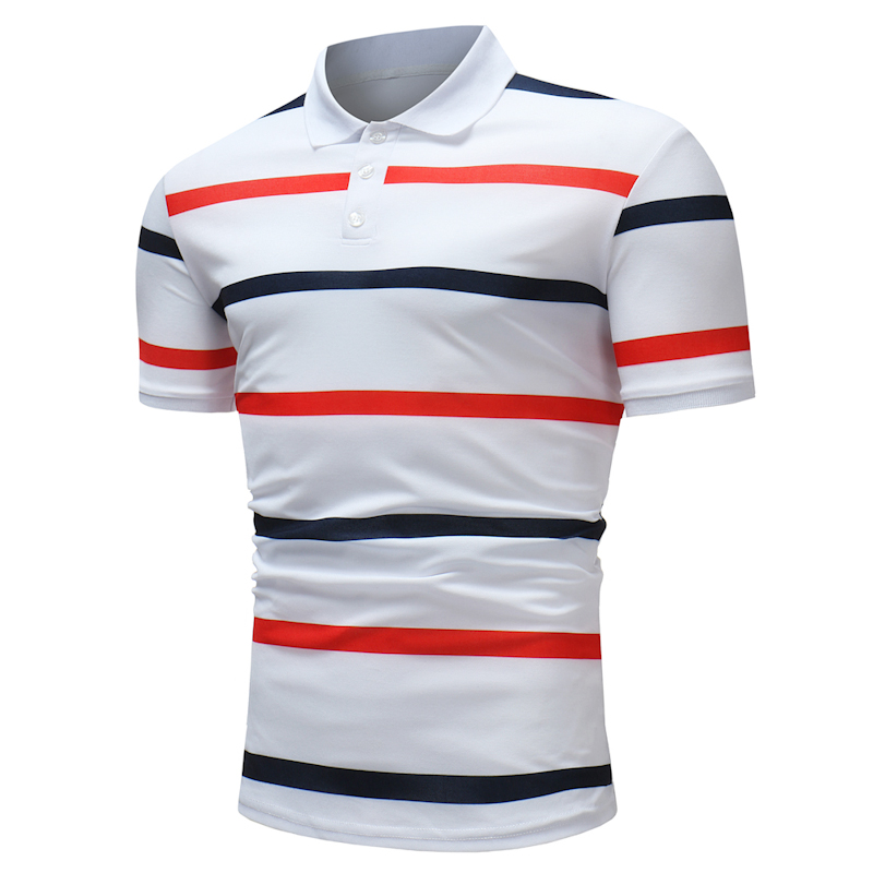 Mens Color Blocking Stripe Wash and Wear Golf Shirt