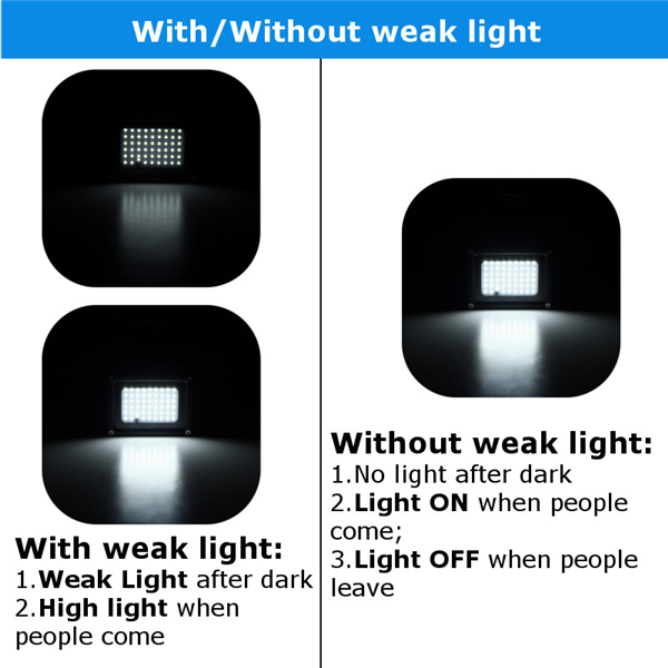54 LED Solar Powered Motion Sensor Flood Light Remote Control Waterproof Security Outdoor Wall Lamp
