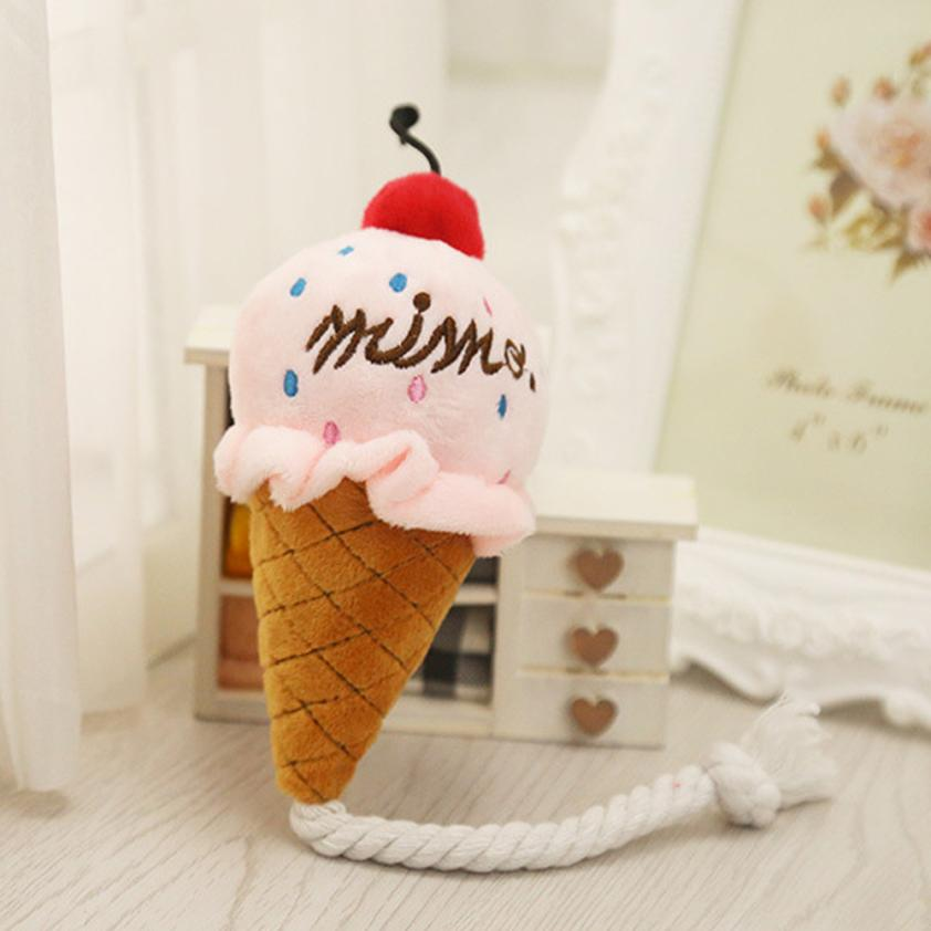 Soft Pink And Blue Cone Ice Cream Sound Toy Bread Kid Gift Pet Toys