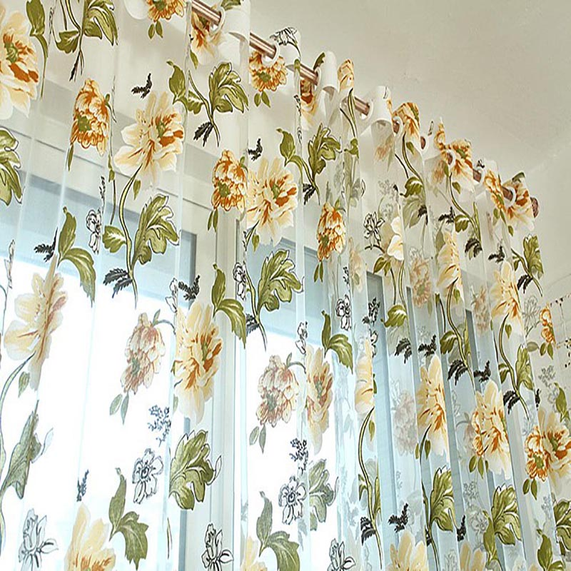 Honana WX-C2 Flower Transparent Tulle Curtains Window Screen Decor Living Room Yellow Purple Sheer Curtain