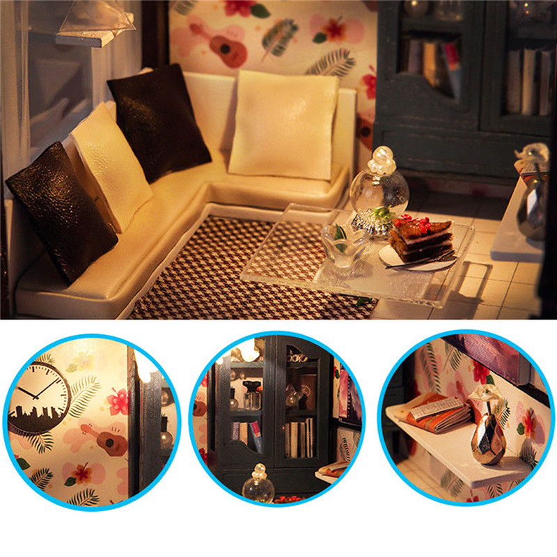T-Yu Dollhouse DIY Valencia Coastal Villa Doll House Miniature Furniture Kit Collection Gift