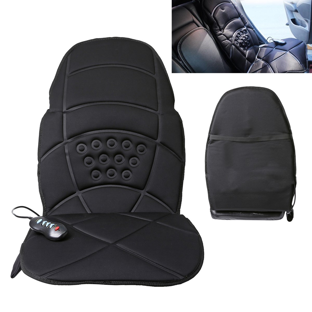 Heated Back Massage Chair Cushion Massager Car Seat Home Pad