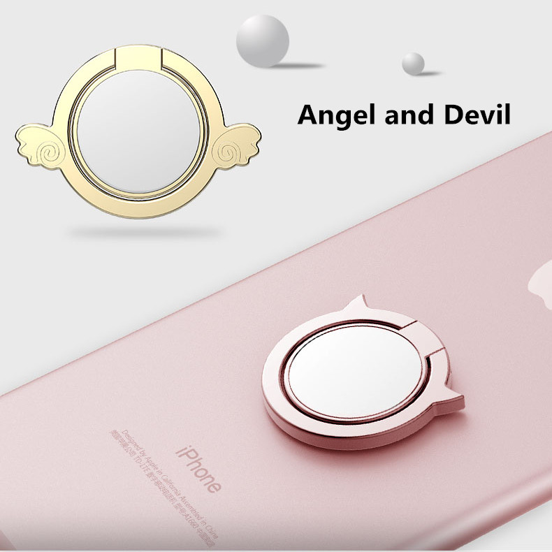 Metal Angel Devil Finger Ring Holder Mini Mirror 360 Degree Rotation Phone Stand for iPhone Samsung