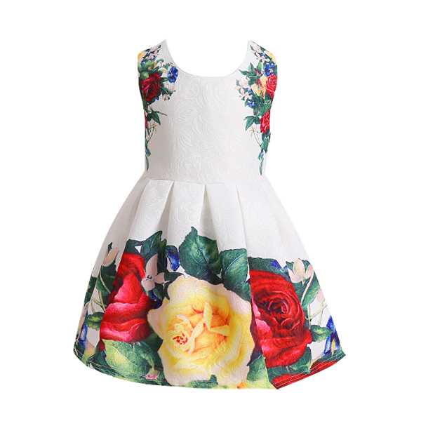 Kid Girls Flowers Printed Sleeveless Princess Dress