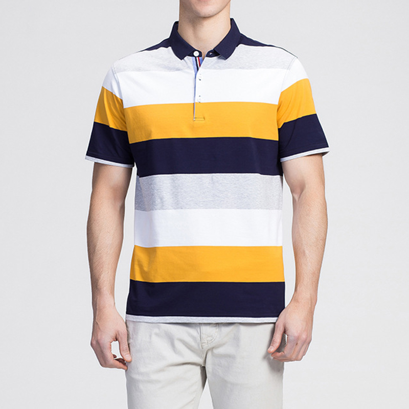 Men's Fashion Stripe Design Comfort Cotton Golf Shirt