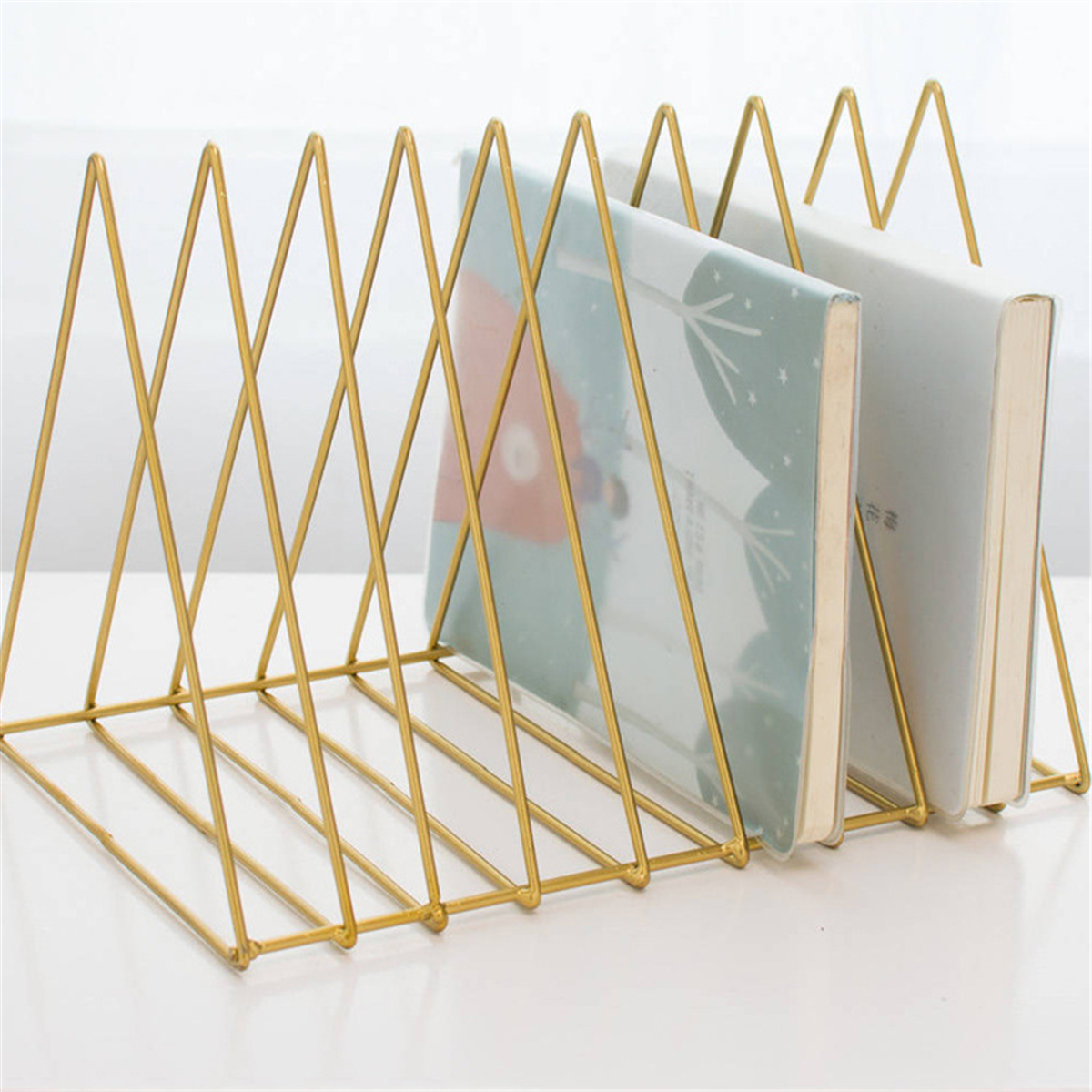 Metal Triangle Iron Art Desktop Bookshelf Letter Magazine Rack Holder Home Office Storage
