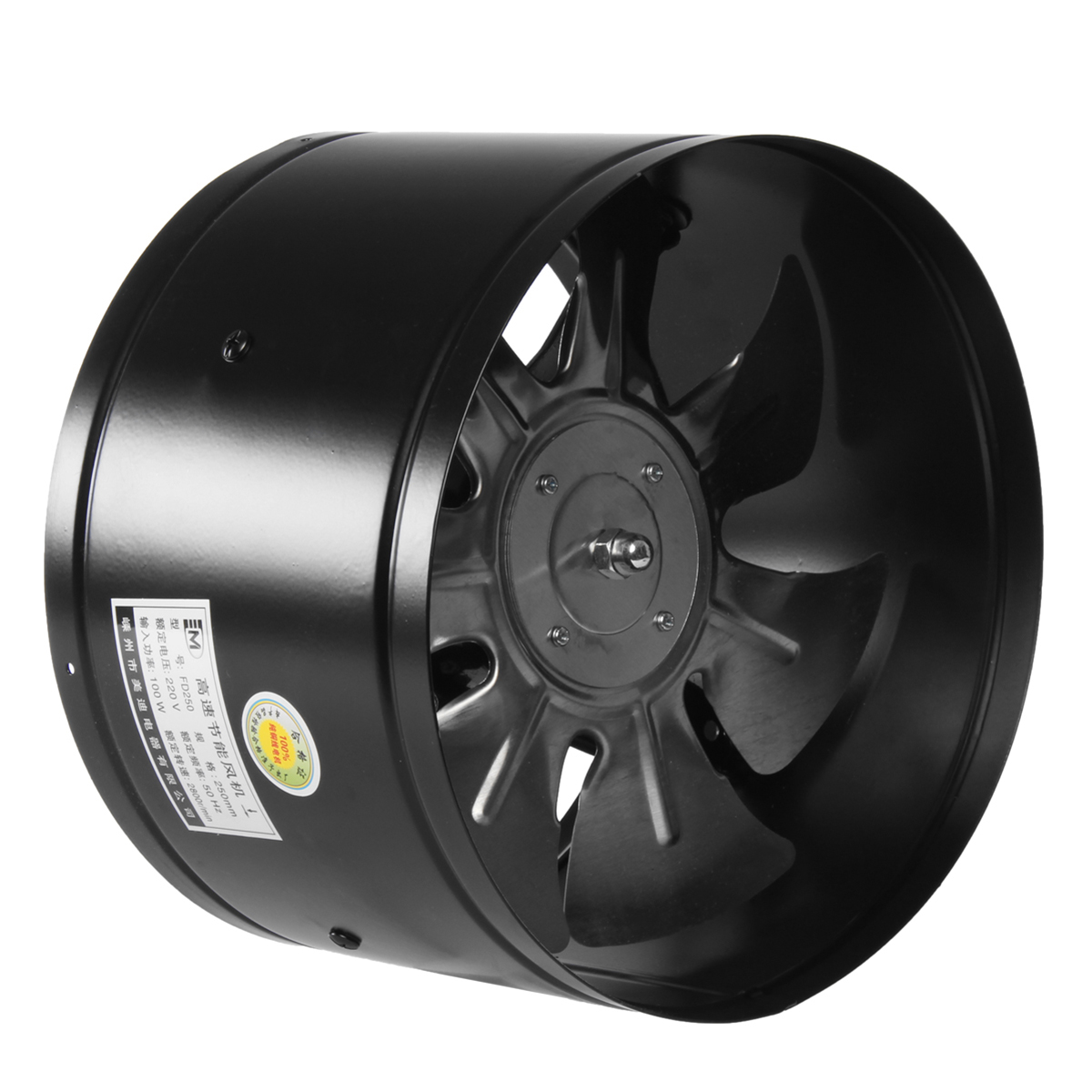 220V 4/6/8/10 Inch Inline Duct Fan Booster Exhaust Blower Air Cooling Vent Black