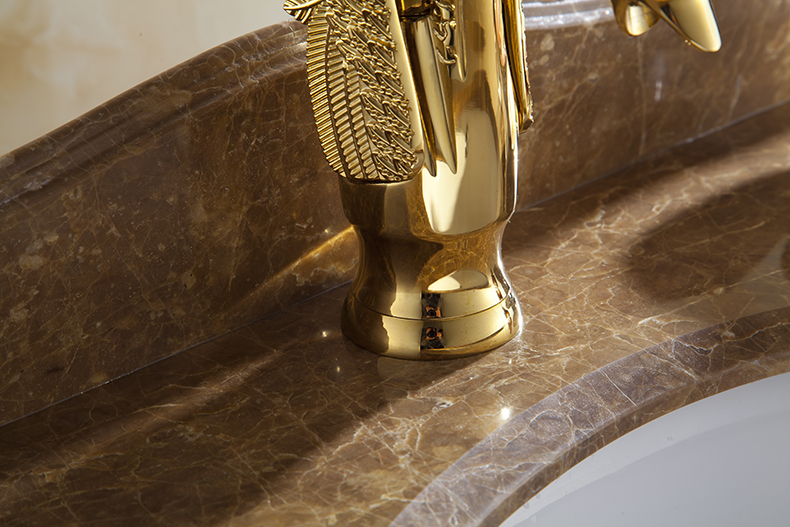 WANFAN HJ-35K Home Bathroom Luxurious Gold Swan Design Single Handle Hot and Cold Water Basin Faucet