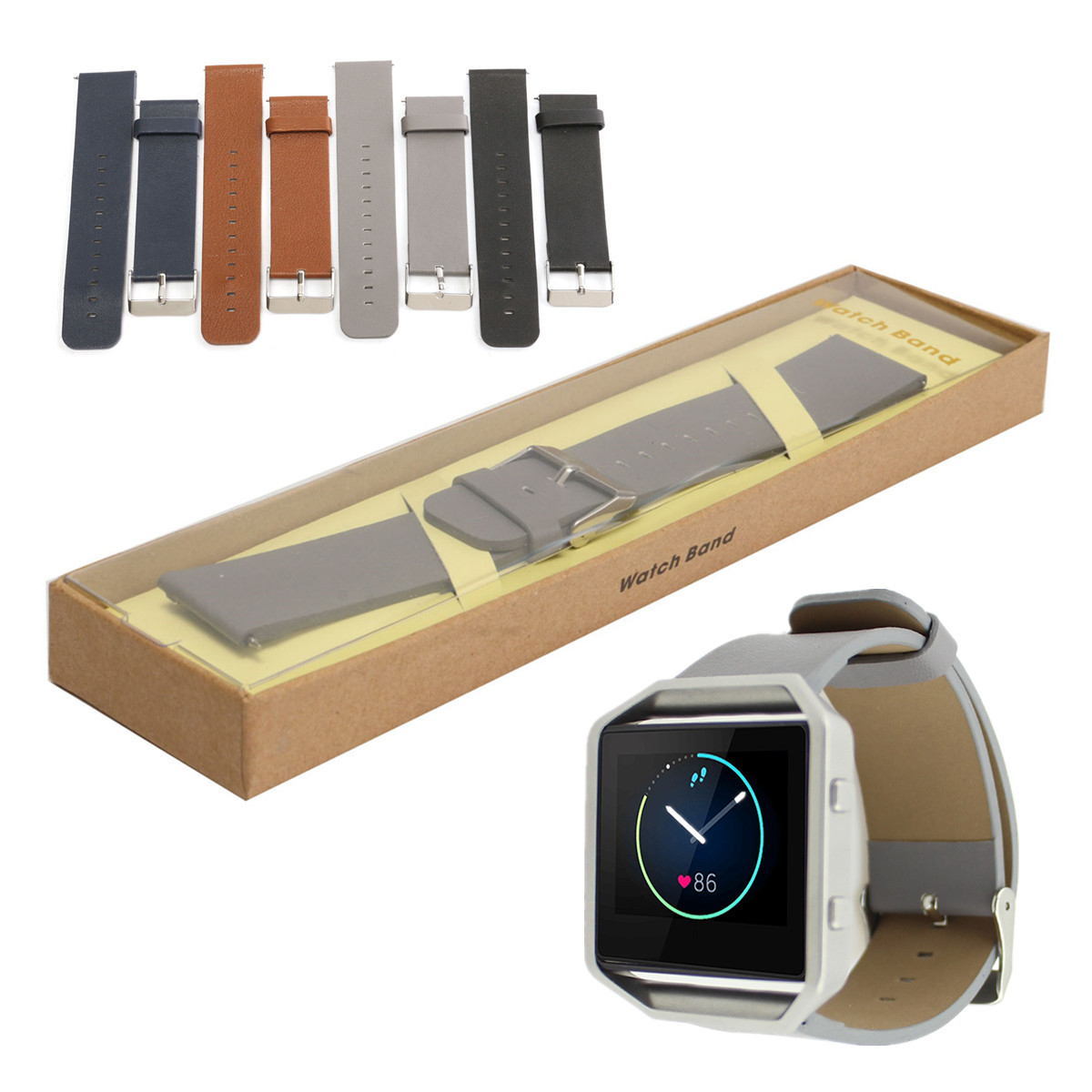 PU Leather Watch Band WrisT-strap Watch Band With Pins For Fitbit Blaze Tracker