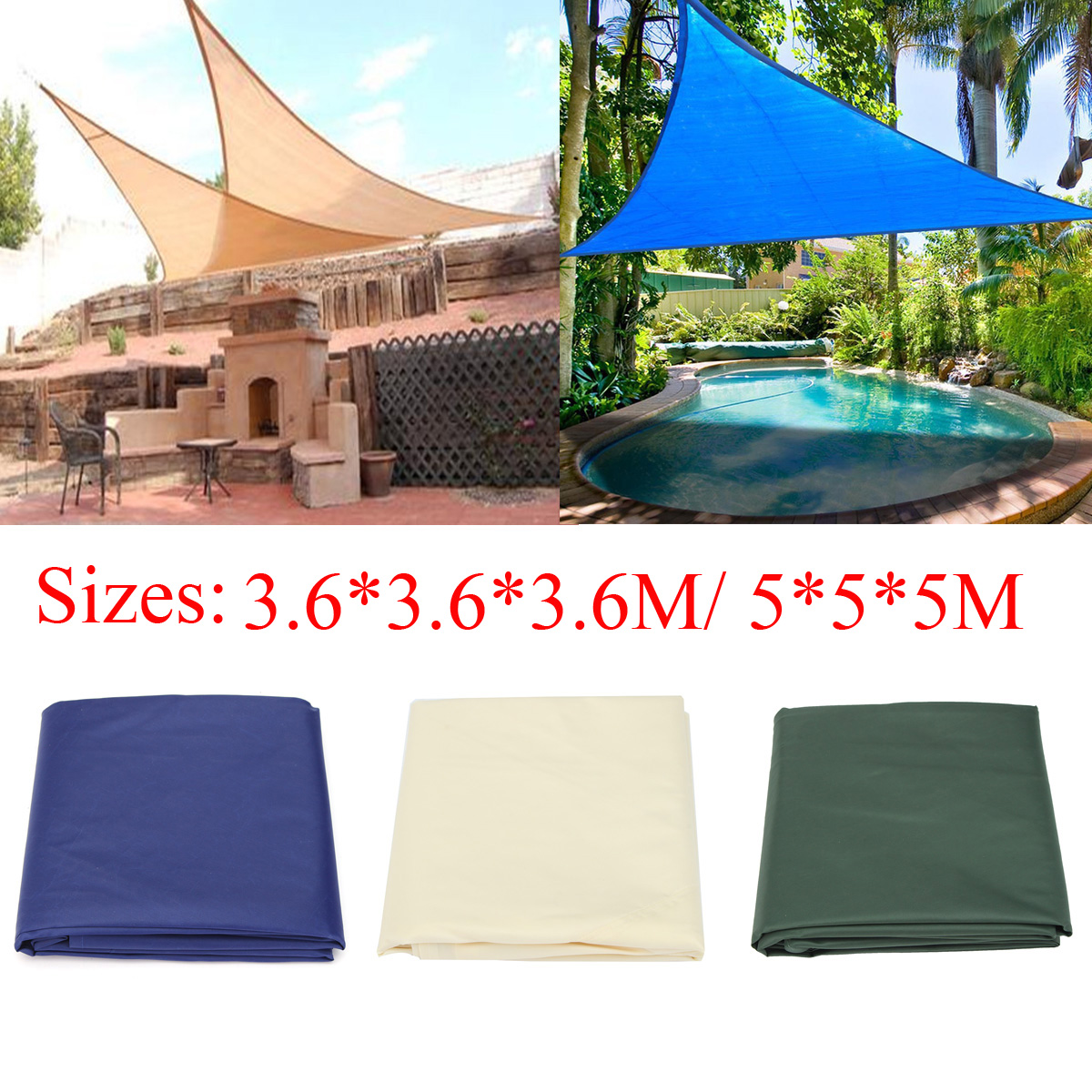 IPRee™ 3.6x3.6x3.6M/5x5x5M Sunshade Sail Anti-UV Outdooors Patio Lawn Triangle Tent Canopy