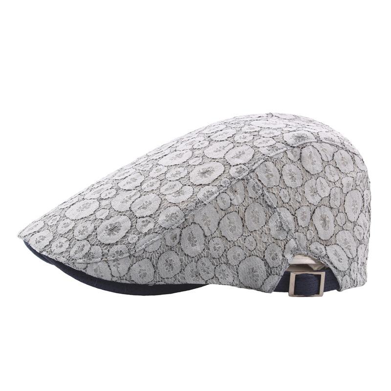 Lace Printting Beret Cap Adjustable Ivy Visor Hat