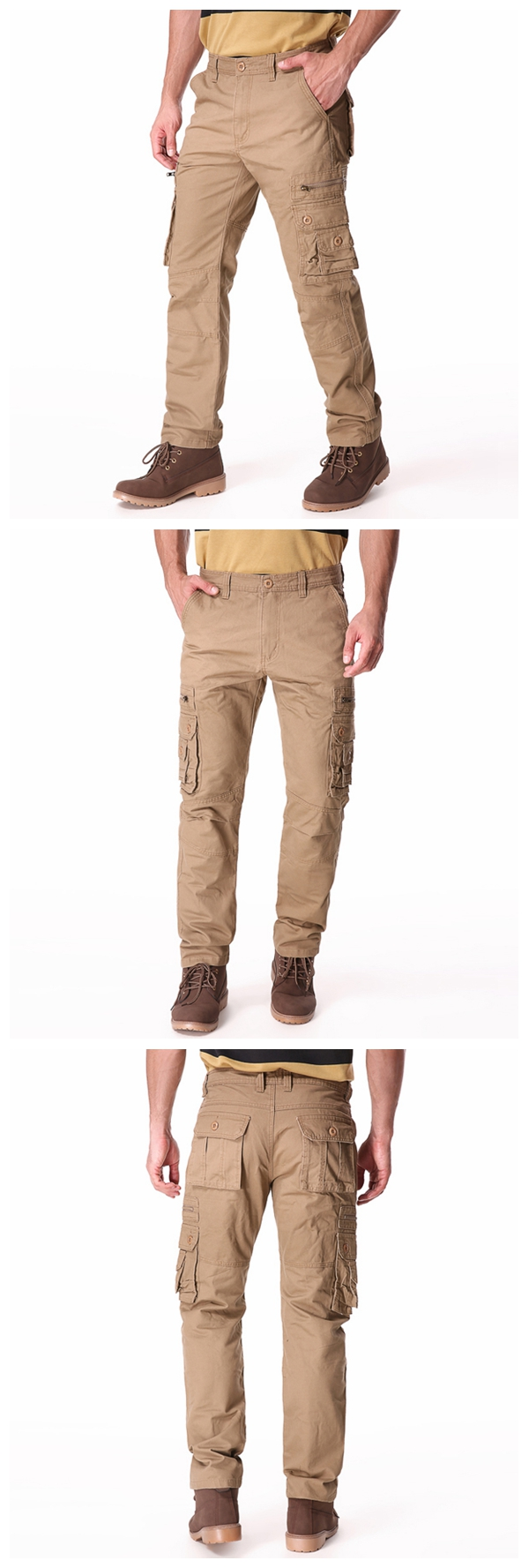 Plus Big Size 30-46 Mens Casual Cargo Pants Solid Color Fashion Multi Pockets Long Trousers