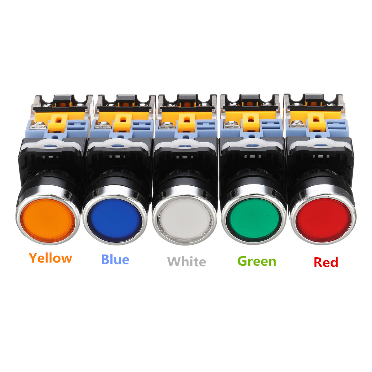 Excellway® 22mm NO+NC Momentary Panel Mount DPST Control Push Button Switch AC220V