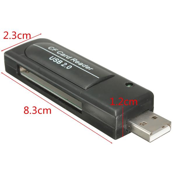 Black USB2.0 Single Slot Compact Flash CF I II MD Memory Card Reader Adapter