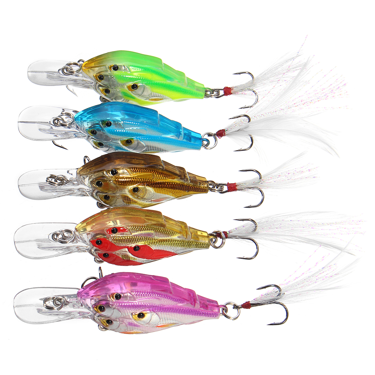 ZANLURE 5Pcs/Set 7cm 6.2g Fishing Lure Crankbaits Hook