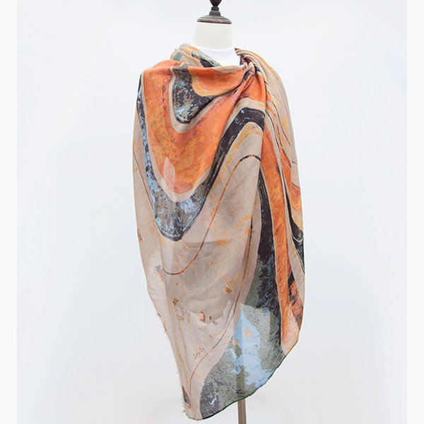 Ladies Satin Abstract Painting Scarves Outdoor Graffiti Sha