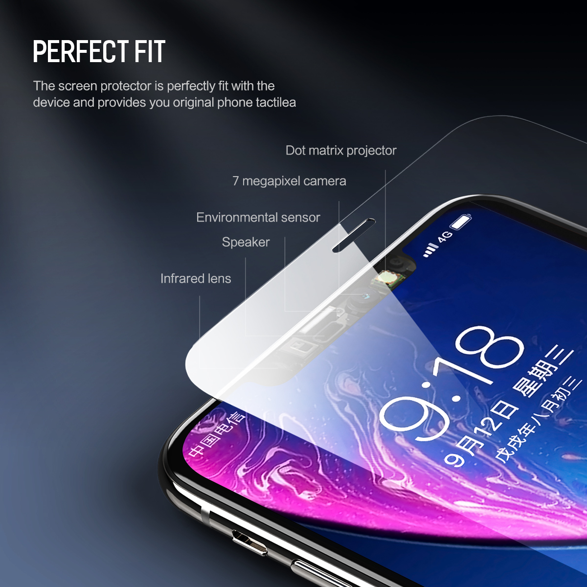 Rock Full Glass Clear/Anti Blue Light Screen Protector For iPhone XR 0.26mm Edge To Edge Film
