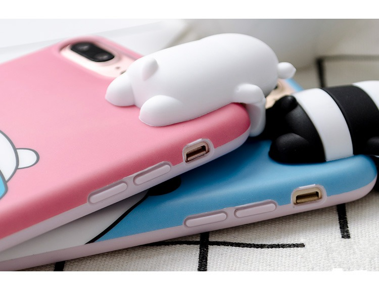 3D Cartoon Cute Animal Bear Panda Toys Soft TPU Protective Case for iPhone 7 Plus 5.5''