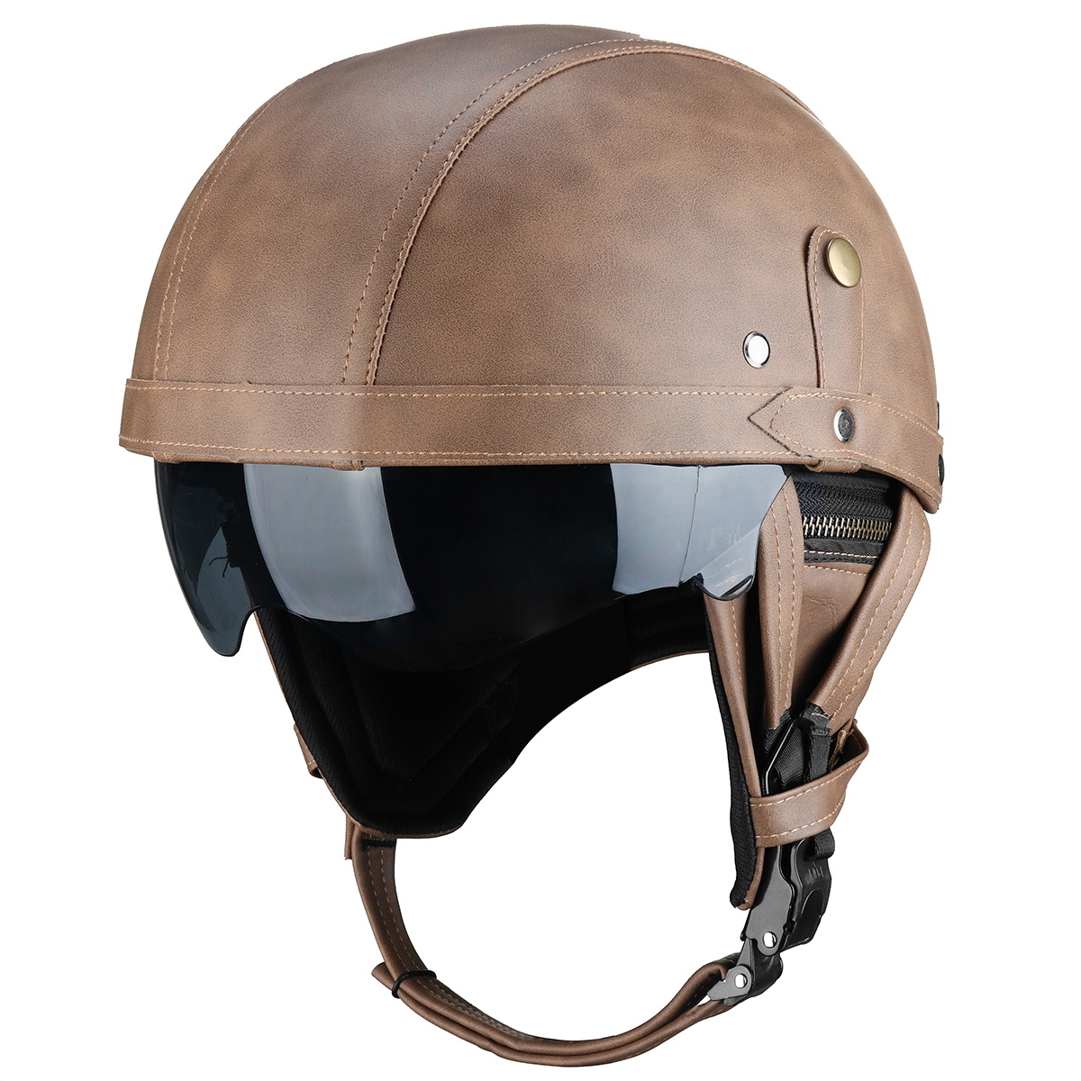 Vintage Leather Half Face Motorcycle Touring Helmet Cruiser Scooter Brown/Black