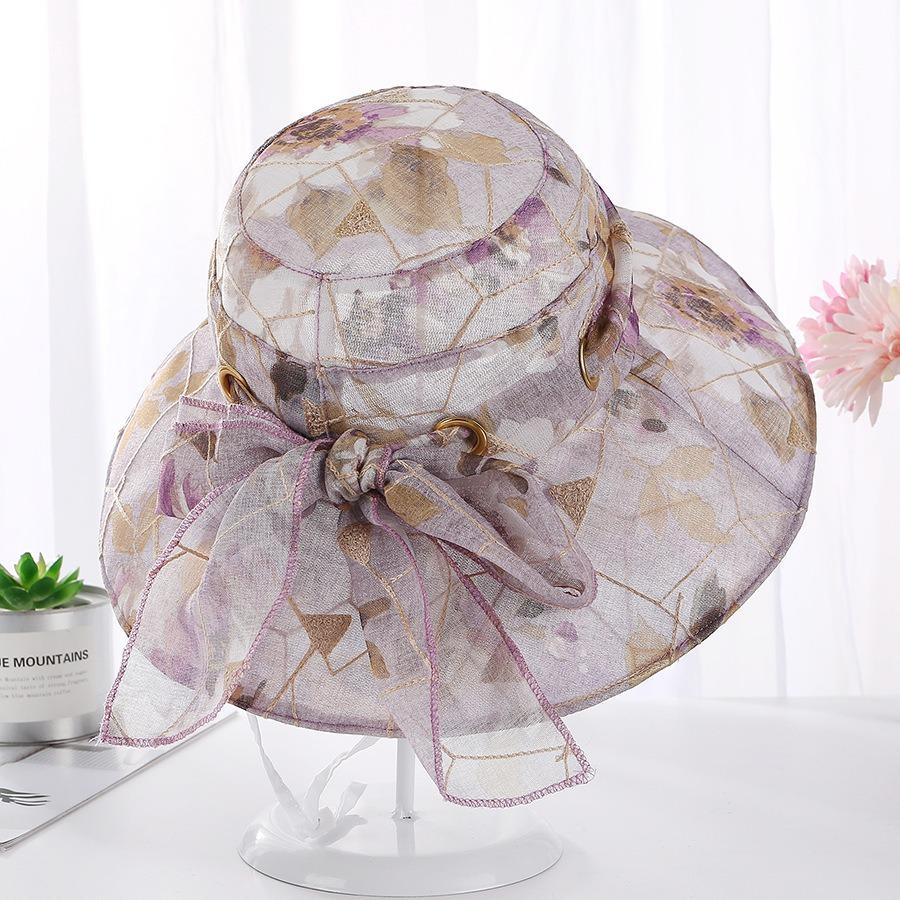 Women Flower Wide Brimmed Fisherman Cap Bucket Hat
