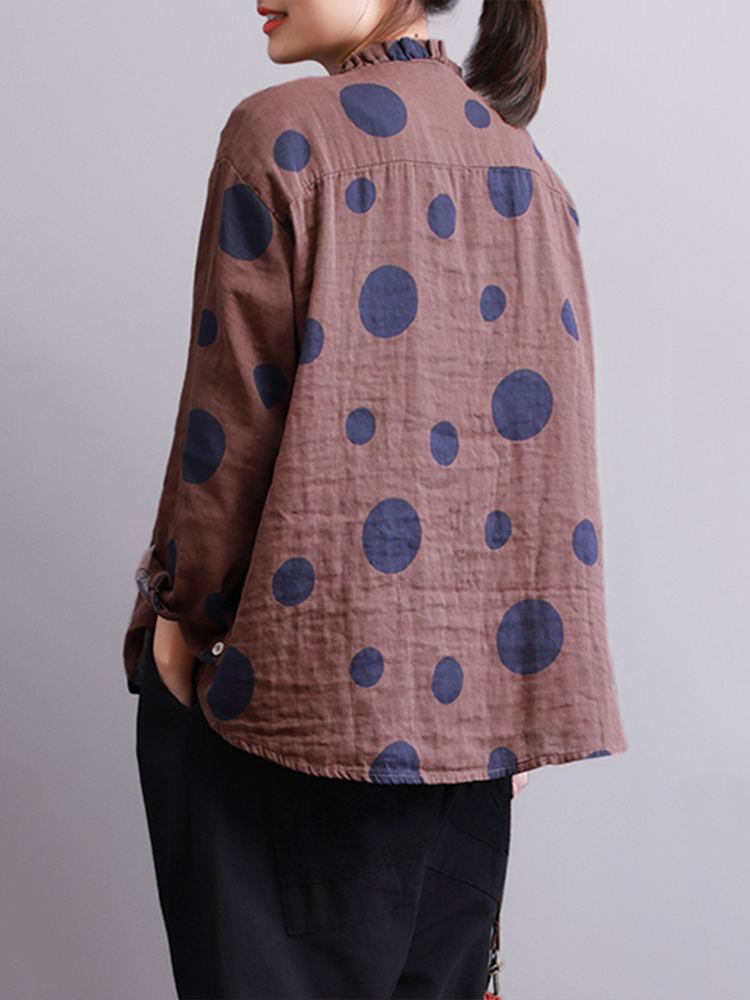 Casual Women Polka Dot Print Stand Collar Blouse