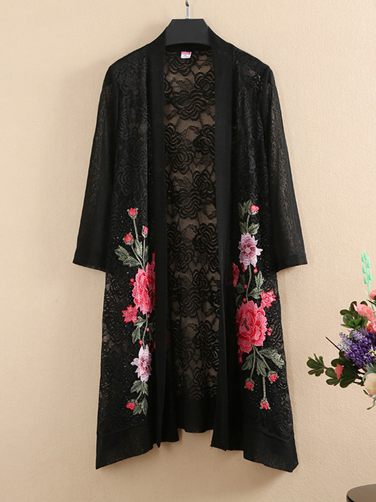 Vintage Women Mesh Printed Lace 3/4 Sleeve Hollow Out Cardigans