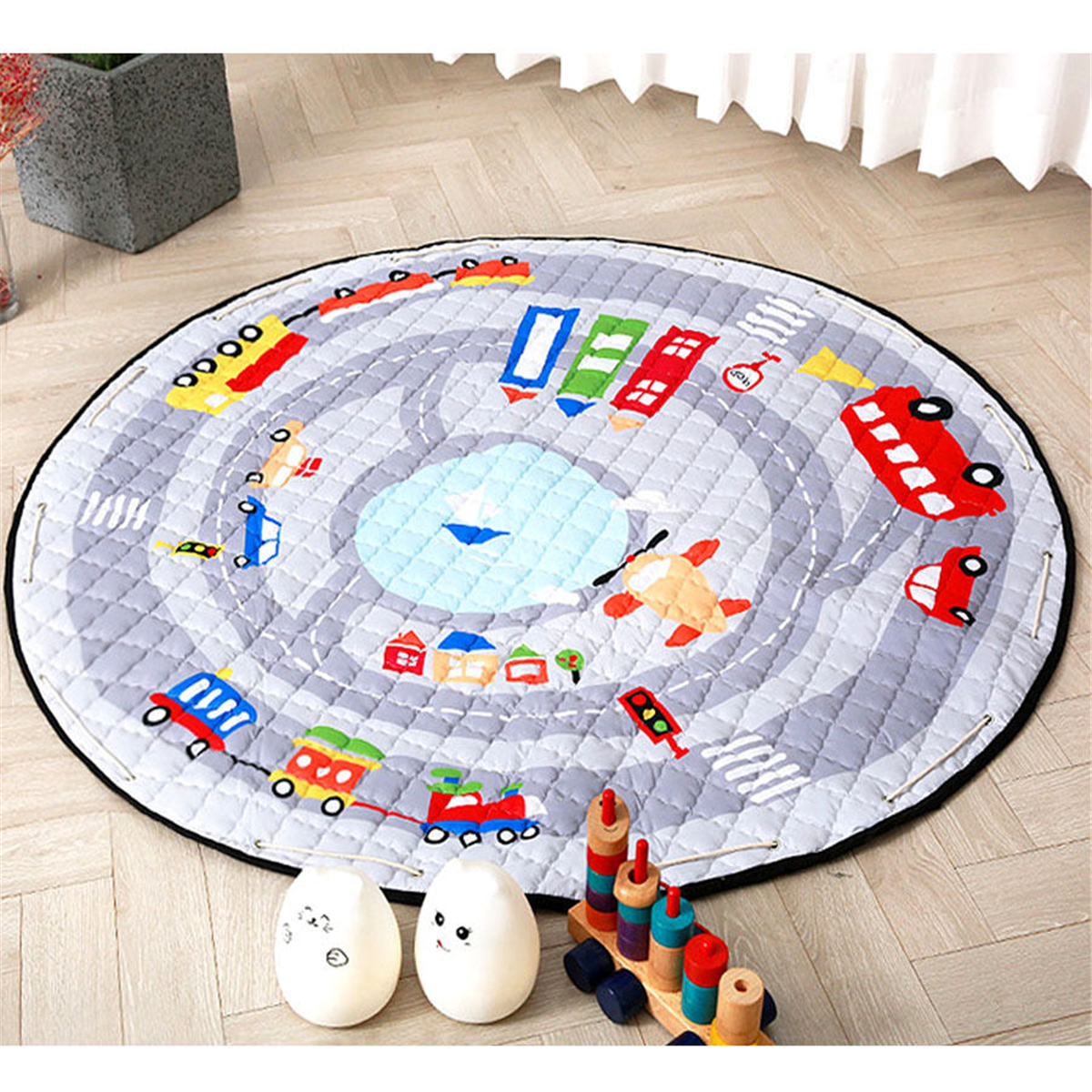 55'' Soft Cotton Round Baby Kids Game Gym Play Crawling Blanket Toys Storage Bag
