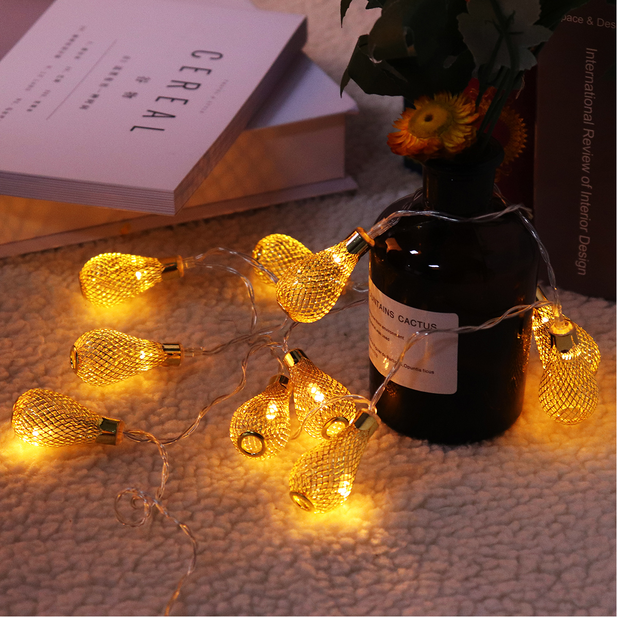Battery Powered 1.4M 10LEDs Waterproof Iron Mesh Teardrop Fairy String Light for Christmas Patio