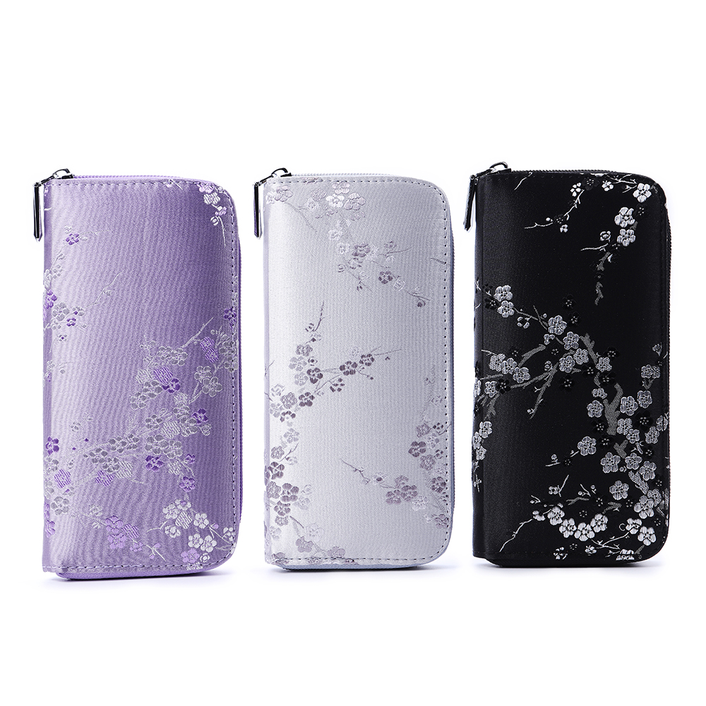 National Style Silk Flower Embroidery Multi-slots Wallet