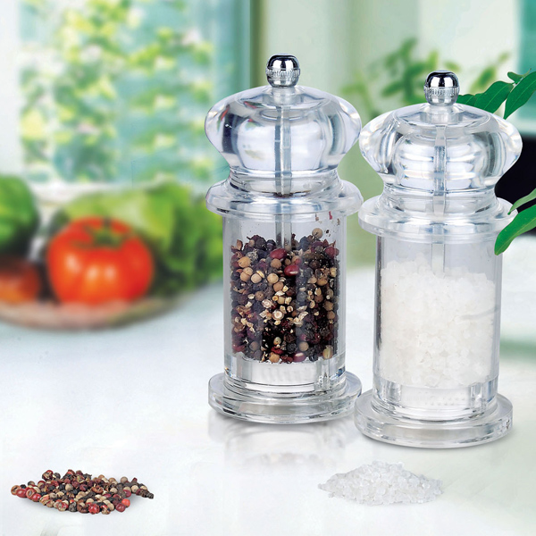Transparent Acrylic Pepper Salt Mill Spice Grinder Muller Kitchen Tool