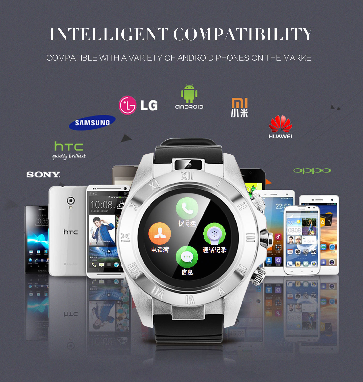 S5 bluetooth Sport Pedometer with SIM Camera Smart Watch for Android Smartphone
