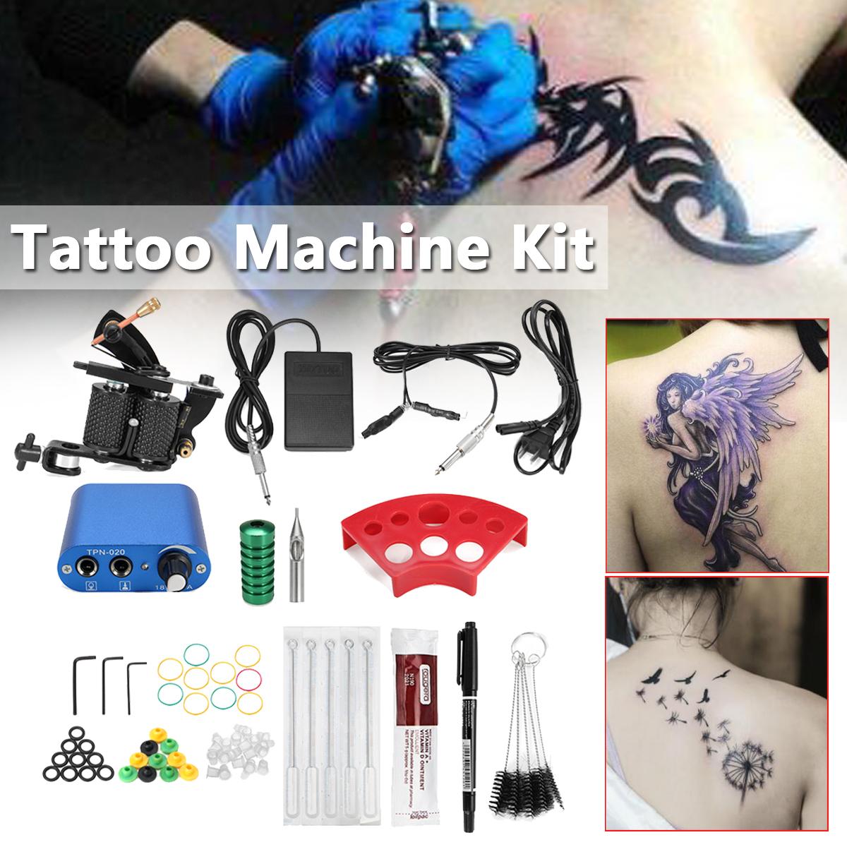 Beginner Tattoo Machine Kit Complete Set Needle Pedal