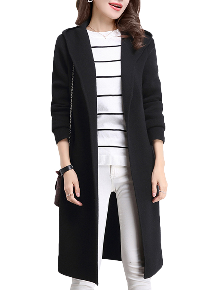 Women Hooded Cardigan Wool Knitted Pocket Sweater Jacket