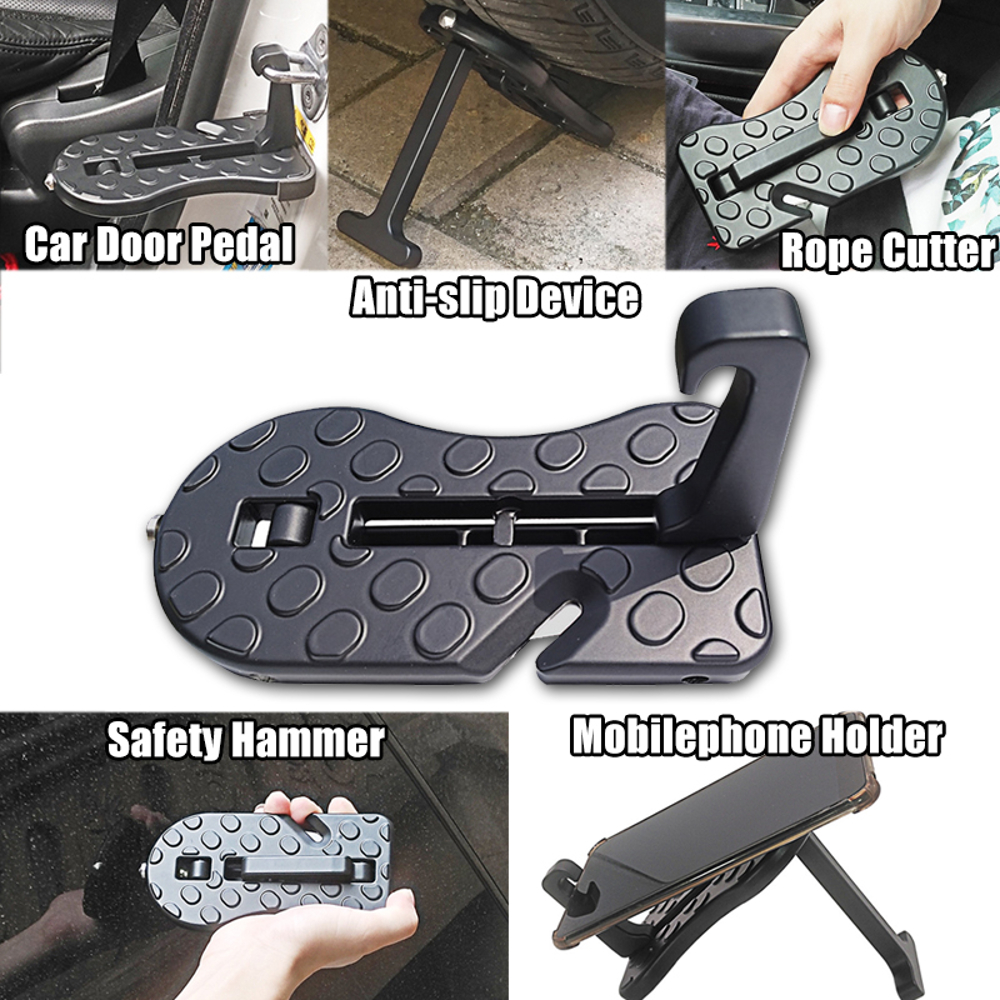 Multifunctional Car Door Pedal Foldable Truck Doorstep Safety Hammer Roof Rack Assistance Universal